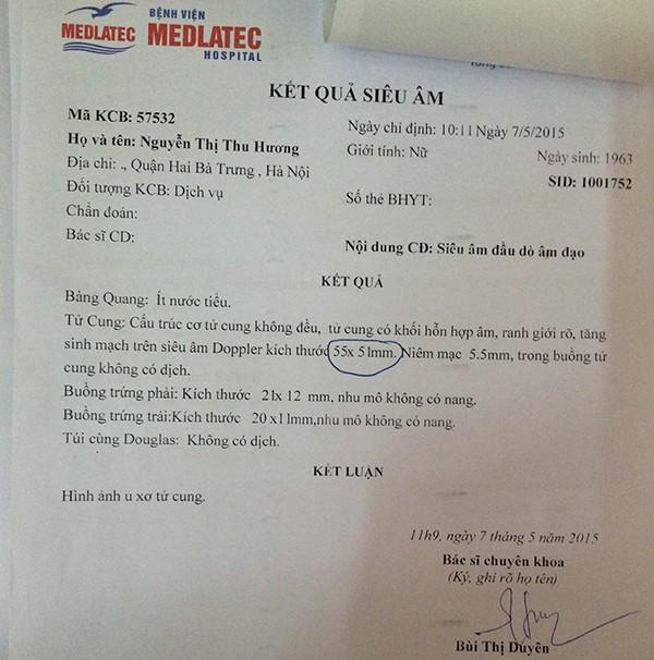 Kết quả siêu âm u xơ tử cung của cô Nguyễn Thị Hương