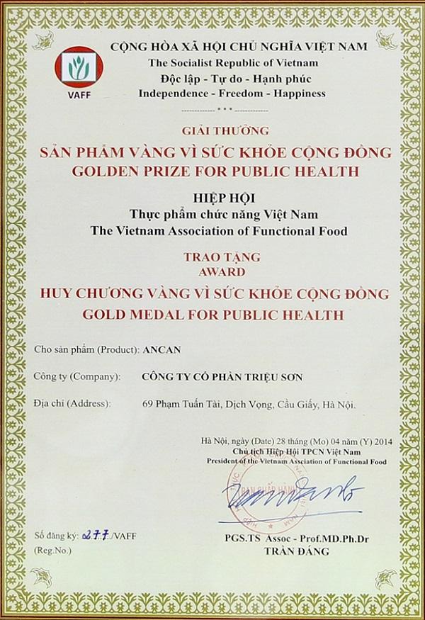 Chứng nhận giải thưởng 2014 cho sản phẩm Ancan Triso